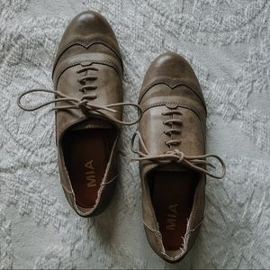 vintage inspired faux leather Oxford shoes